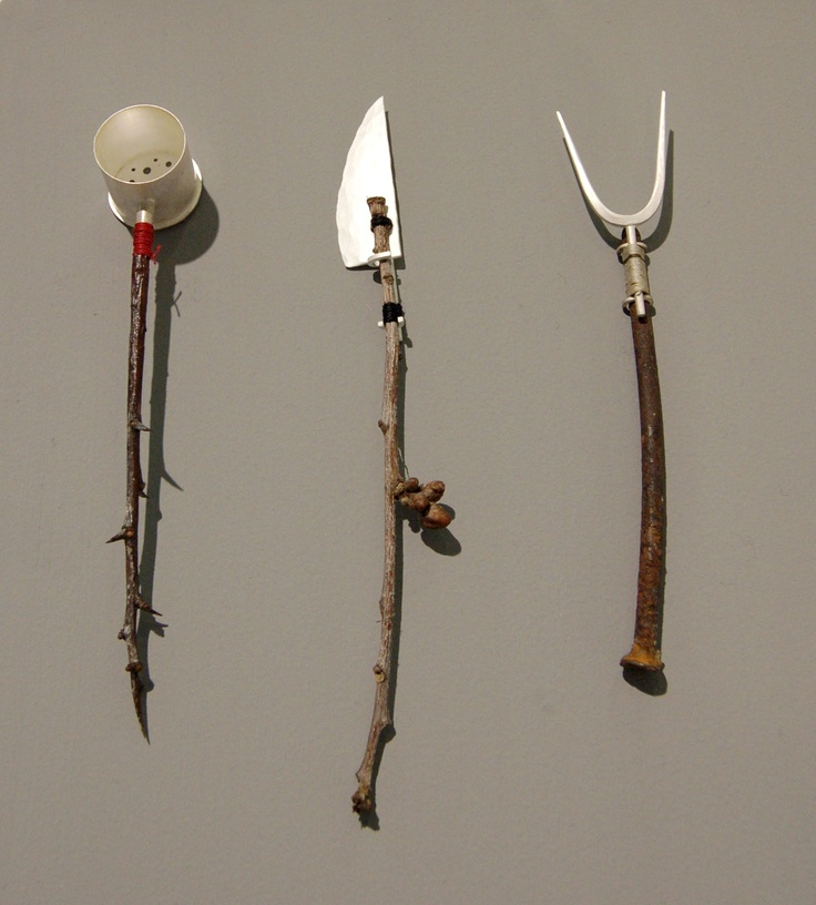 Utensil Set by Stuart Cairns. Materials; found materials combined with elements fabricated from sterling silver.