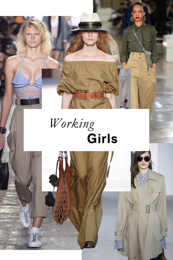 WORKING GIRLS | Utilitarian-feeling trousers and toppers riff on the classic workwear fabrications; look to labels like Loewe, Valentino, and Kenzo for a compelling taste of how olive and khaki can feel fresh come spring.