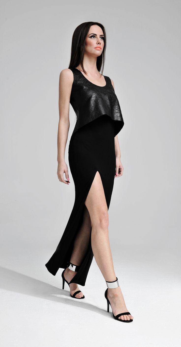 Sukienka maxi ze skóry z rozcięciem u dołu