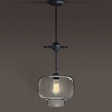 60W Artistic Classic Pendant Light With Transparent Glass Candy Box Shade In Factory Style