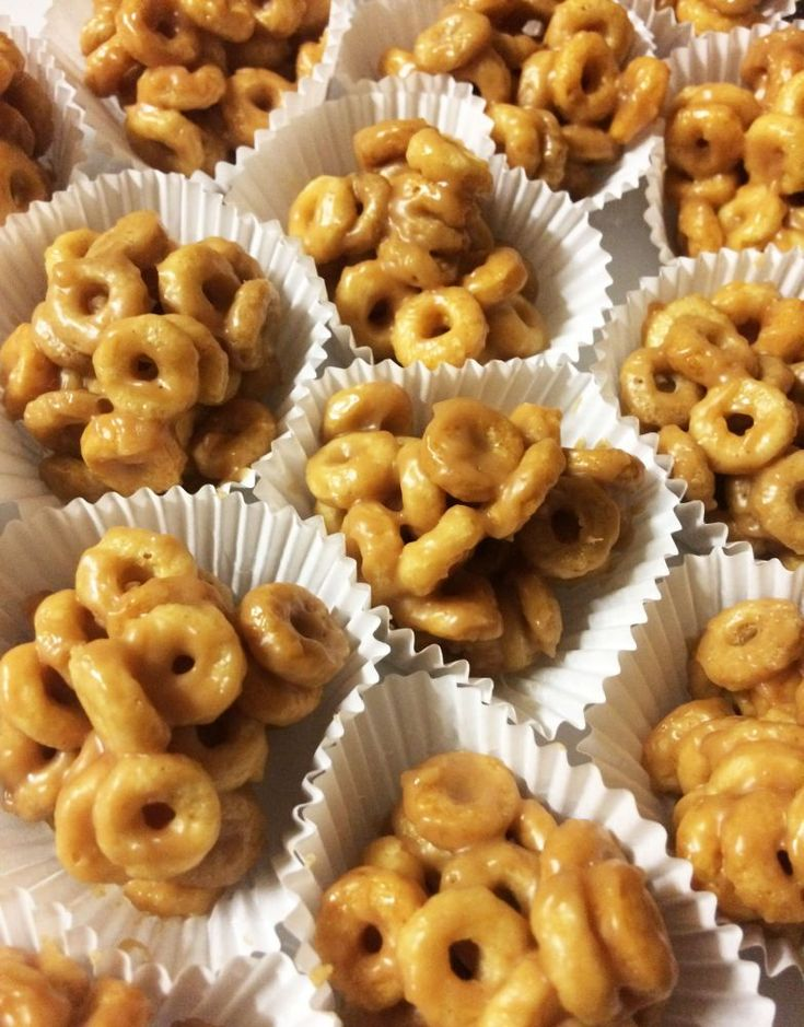 Peanut butter and honey cheerio treats! They take just minutes to put together, have only three ingredients, and taste amazing.