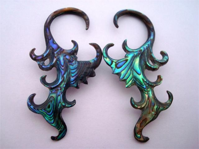 kingsbodyjewelry.com - Ornate Abalone Shell Hooks (14 gauge - 8g) - $49.99/pair to $59.99/pair