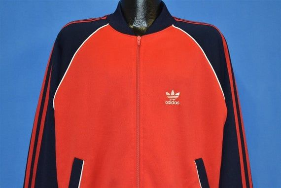 80s Adidas Blue Red White Striped Trefoil Track Jacket Large