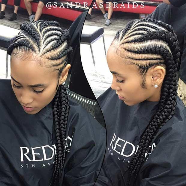 Small and Jumbo Ghana Braids Style