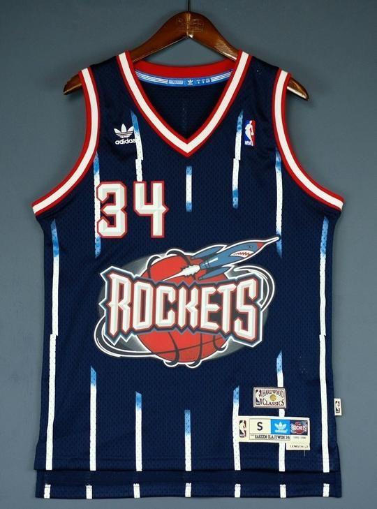 premium selection ba9f4 04706 Men 34 Hakeem Olajuwon Jersey Blue Houston Rockets Jersey ...