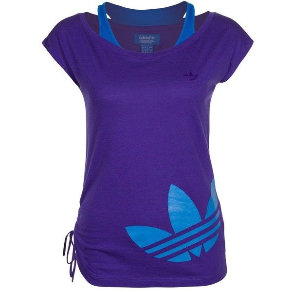 adidas Originals Print Tshirt (105 BRL) ❤ liked on Polyvore featuring tops, t-shirts, haut, purple, women's tops, blue print top, purple top, patterned tops, blue t shirt and adidas originals t shirt