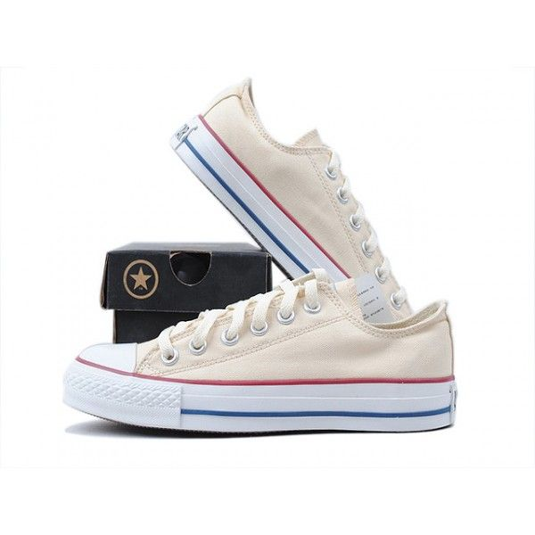 Converse Shoes Beige Chuck Taylor All Star Classic Low - Canvas Shoes .