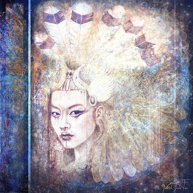'Naga Blue' pencil drawing and digital rendering by Heidi Jade Fox