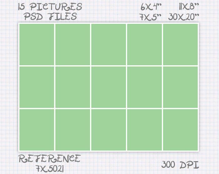 Storyboard Plantilla foto collage 6x4 7x5 8x11 20x30 pulgadas retrato y apaisado (15 fotos) ref 7x5021 de JuanmiDesigns en Etsy