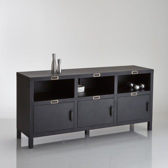 Hiba Industrial Style 3 Door Steel Sideboard Sideboard Dresser Furniture Industrial Style