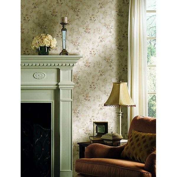 Pretty vintage and traditional living room decor ideas with a formal fireplace mantel, taupe floral scroll wallpaper 981-63748 Taupe Floral Scroll - Eloise - Mirage Wallpaper