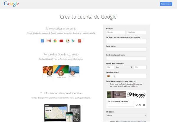 Cómo crear una cuenta de Google sin un correo de Gmail