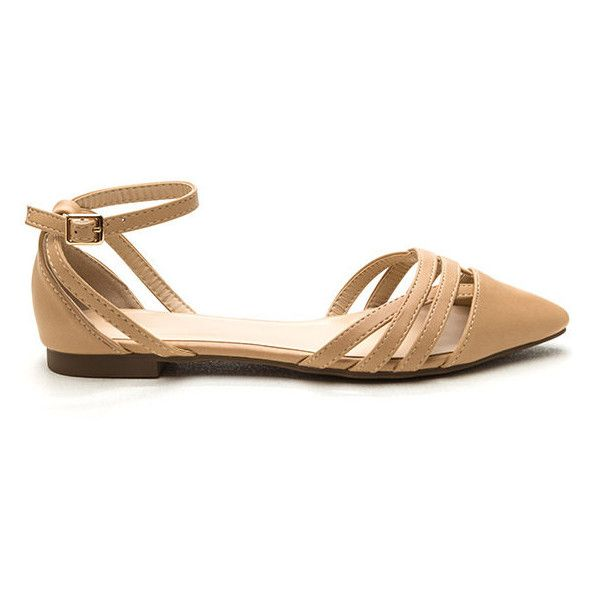 Chic Attack Latticed Flats TAN ($18) ❤ liked on Polyvore featuring shoes, flats, tan, ankle wrap flats, tan flats, vegan shoes, flat shoes and tan pointed toe flats