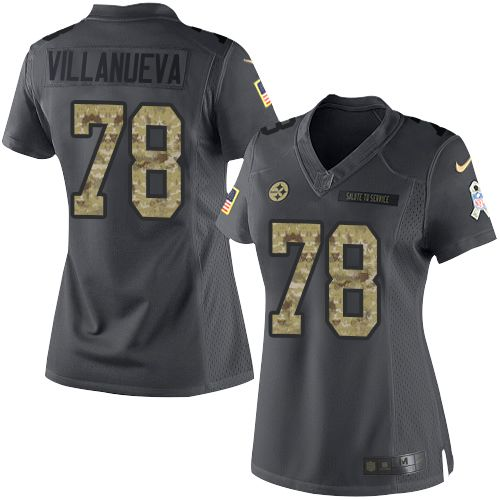 3141e9b75cf ... Replica Home Jersey NFL Size Chart Nike Pittsburgh Steelers Womens 78  Alejandro Villanueva Limited Black 2016 Salute to Service ...