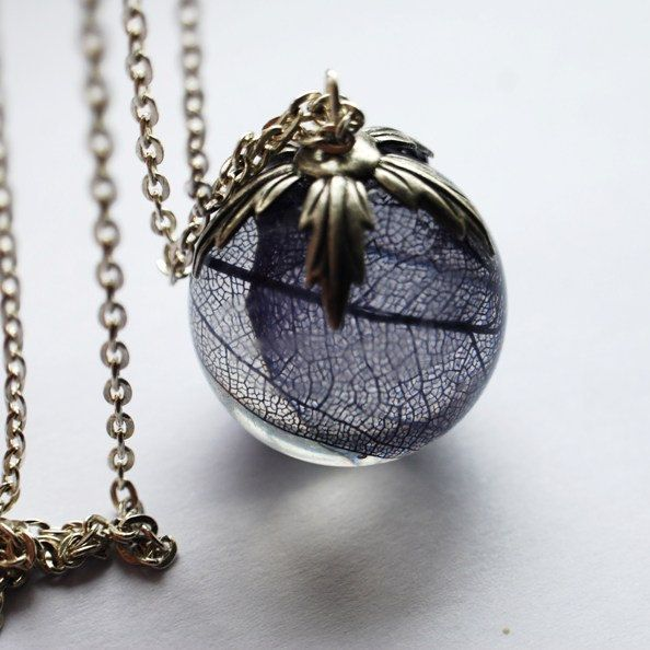 Real Leaf Necklace Resin Jewelry 01 Globe Orb Pendant Statement Purple Dark Skeleton Nature Specimen. $46.00, via Etsy.