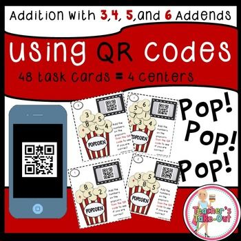 64 best qr codes in the classroom images on pinterest task cards popcorn addition using 3 4 5 and 6 addends with qr codes fandeluxe Gallery