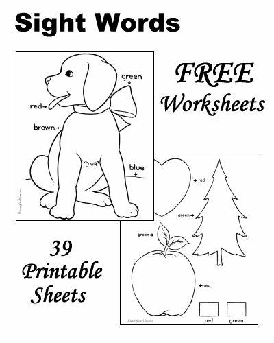 sight words worksheets - Free Printable Toddler Worksheets