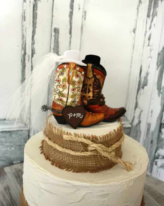 His and hers western boots-wedding cake topper-cowboy boots-cowgirl boots-western wedding-rustic wedding