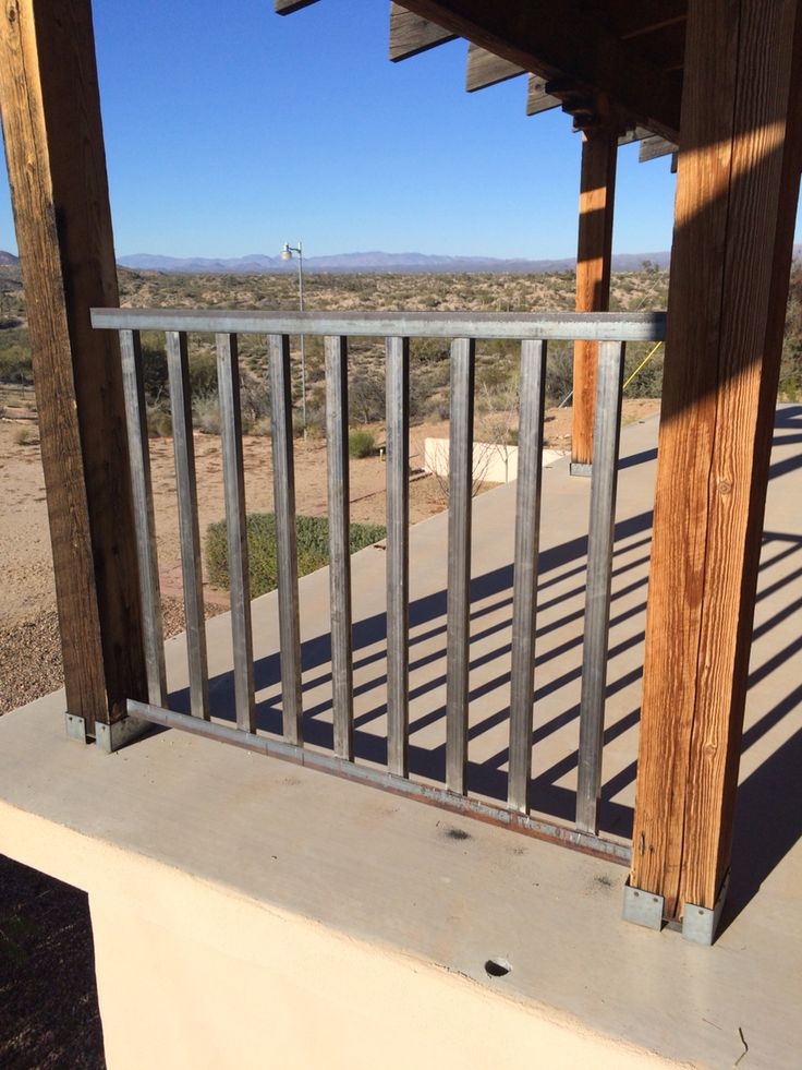 Porch railing for ranch style house with large deck. Posts ...