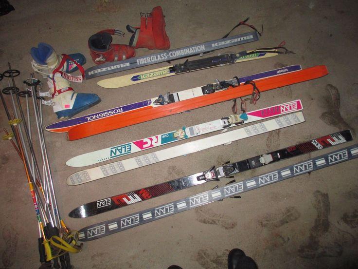 Lot of Ski Equipment Skis Ski Boots Poles Downhill Skiing Winter Sports Vintage
