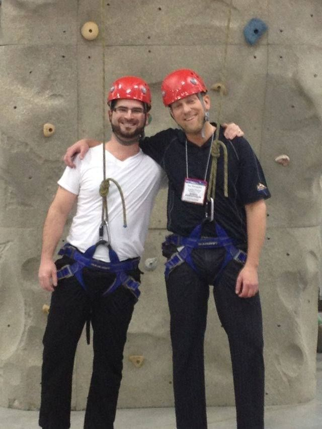 Throwback Thursday! Of course you will always find Blaine & Iggy having a blast anywhere they go... Here they are just about to scale our rock climbing wall at our ISA booth in 2011!