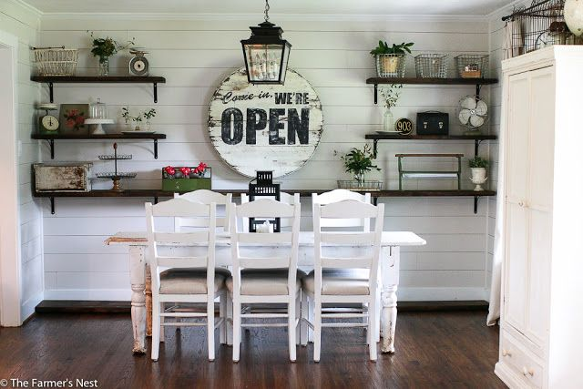 Open Shelves in the dining room. Shiplap  Fixer Upper The Farmer's Nest