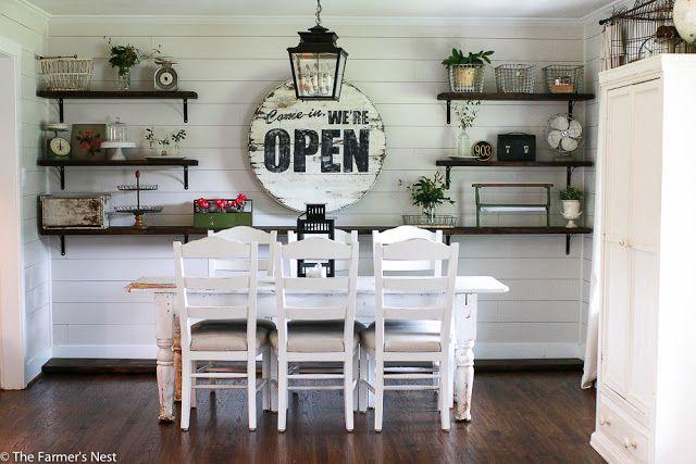 Open Shelves in the dining room. Shiplap Fixer Upper The Farmer's Nest