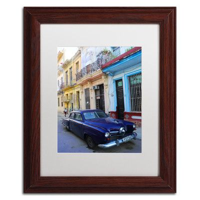 "Trademark Art Vatage Blue Studebaker in Havana Framed Photographic Print Size: 14"" H x 11"" W x 0.5"" D"
