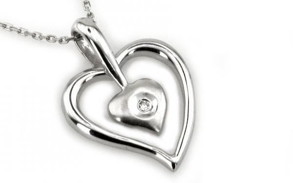 "Zlatý diamantový náhrdelníkv motíve"" two Hearts"" biele zlato 14 K"
