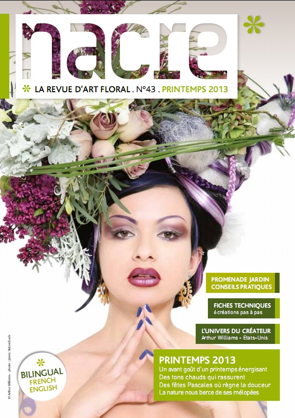 Amazing purple and green floral headpiece - New Nacre magazine issue !
