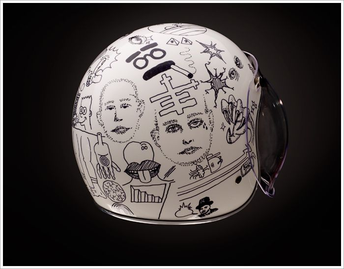 Idea: White 3/4 helmet + your drawing + a clearcoat or 4 and you have it...