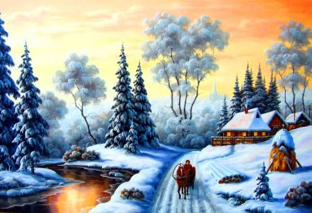 Winter cottage - froest, lake, walk, path, day, rise, forest, winter, horse, cottages, sky, cold, nice, nature, trees, houses, frozen, reflection, beautiful, lovely, snow, ice, snwfall, village, season, view