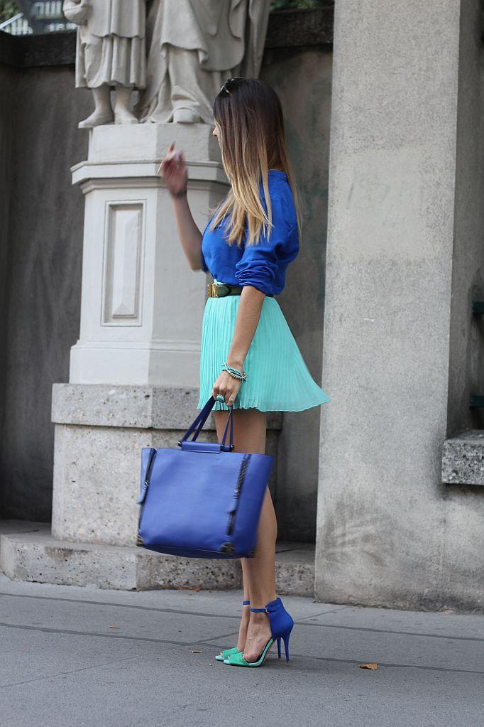 zara blau grüne high heels