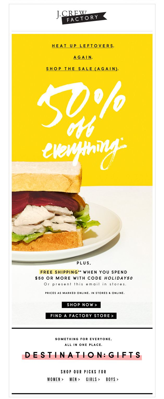 J Crew Factory email - Thanksgiving 2013