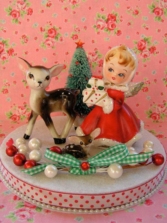 Vintage Angel and Deer Xmas Holiday Decor Setooak by KittyKatDance, $42.00