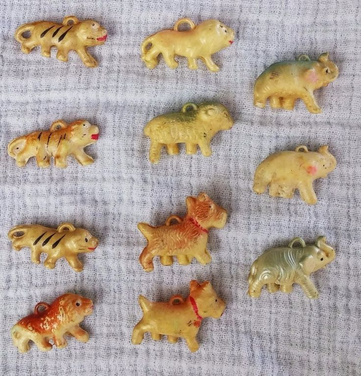 VTG ANTQ Puffy Japan  Celluloid Charms 11 Piece Lot Lion Elephant Tiger Dog Ram