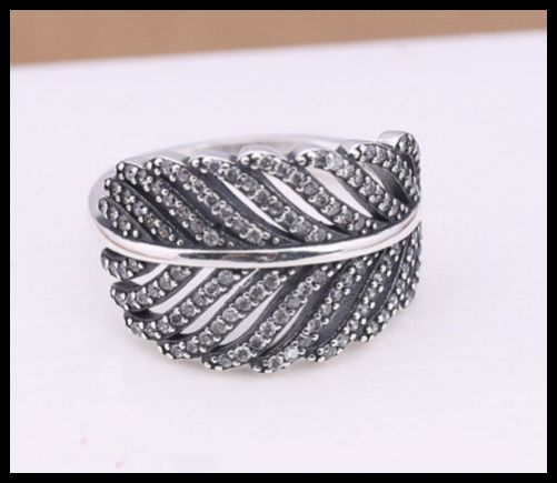 Sterling Silver Petite Feather Ring S925 with Cubic Zirconia Stones for Sparkle
