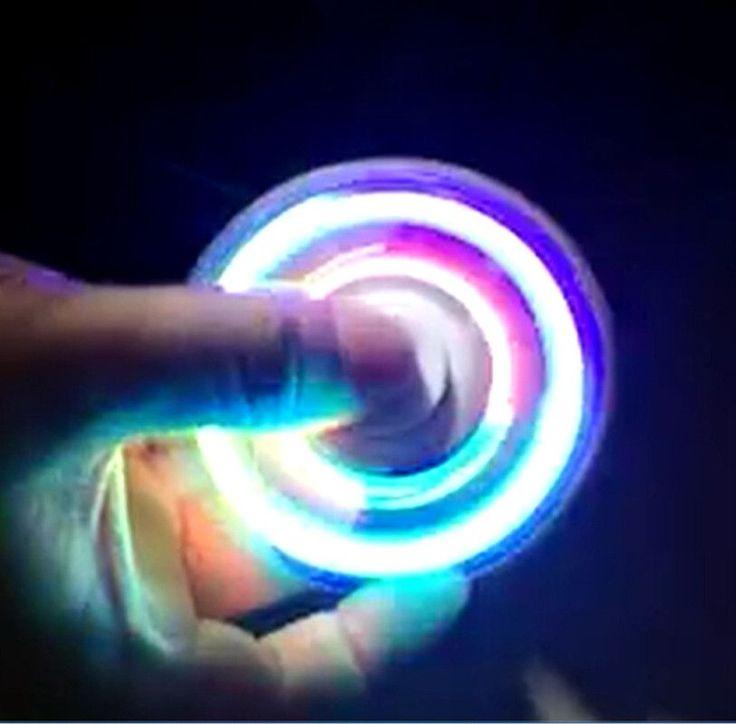2017 New Fashion LED Light Hand Spinner Fidget Toys Aluminium Ceramic Glowing Finger Hand Finger spinner glow in the dark