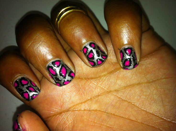 Silver & Pink Leopard Print