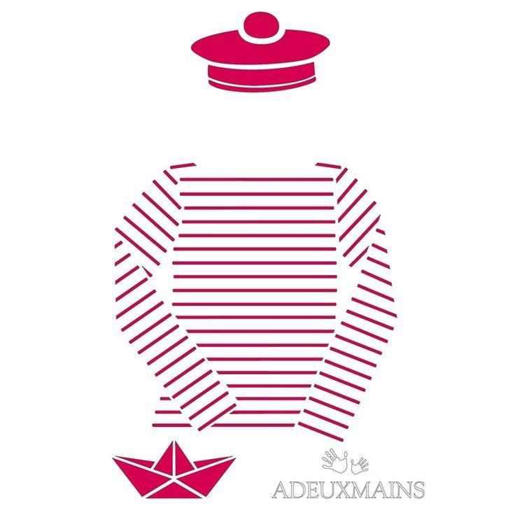 Pochoir Marinière et pompon de marin (A6) - ADEUXMAINS