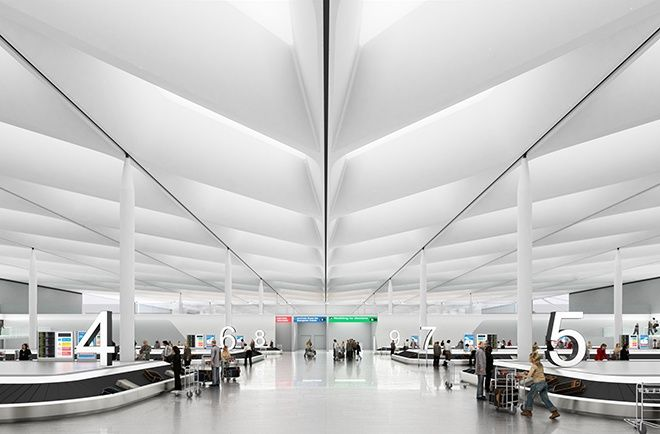 Stansted Airport new arrivals building by Pascall+Watson