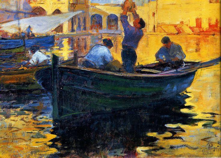 Alexandre Rigotard / La Barque, Amirauté d'Alger 1910 / Huile sur toile 38 x 55 cms
