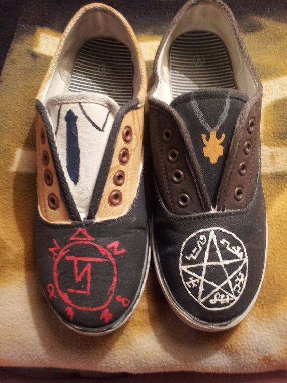 Supernatural Shoes by ShowShoes on Etsy, $31.00 ....Destiel....shoes?????