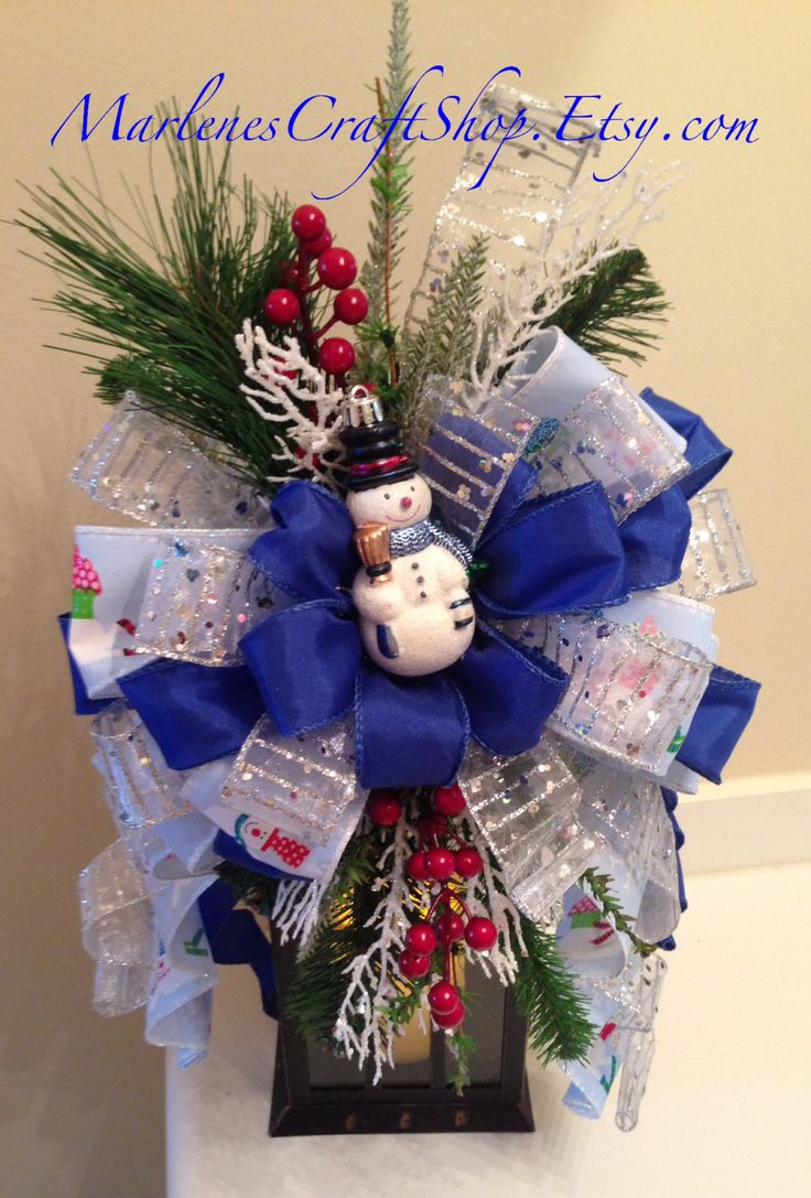 How to make a snowman christmas tree topper - Snowman Lantern Swag Blue And Silver Snowman Tree Topper Snowman Christmas Bow