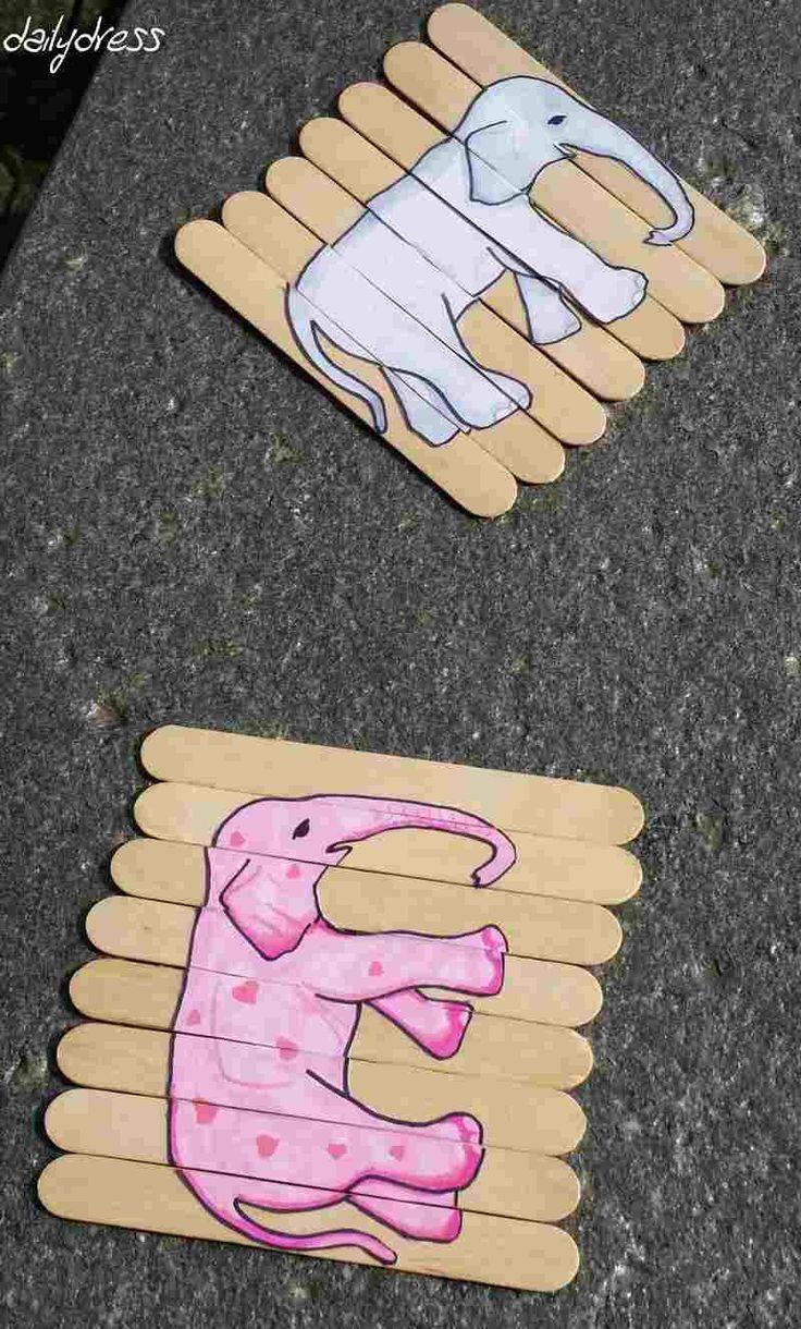 Einfaches Puzzle DIY aus Eisstäbchen Die Elefanten sind los Kostenlose Vorlage zum Basteln mit