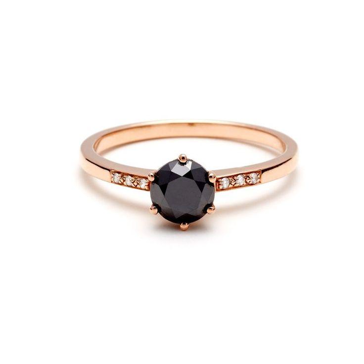 Hazeline black diamond engagement ring
