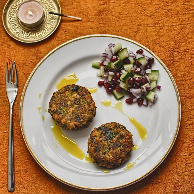 spicy chickpea cakes with curry oil