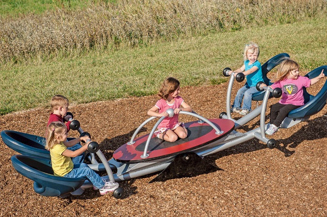 The We-saw™ is a new take on Landscape Structures' traditional seesaw. Its unique design and gentle rocking motion invites kids and families of all ages and abilities to participate in the fun. The We-saw™ is wheelchair accessible. Like all Landscape Structures seesaws, the We-saw™ provides opportunities for collaborative play and teamwork. #play #fun #kids #seesaw #inclusive