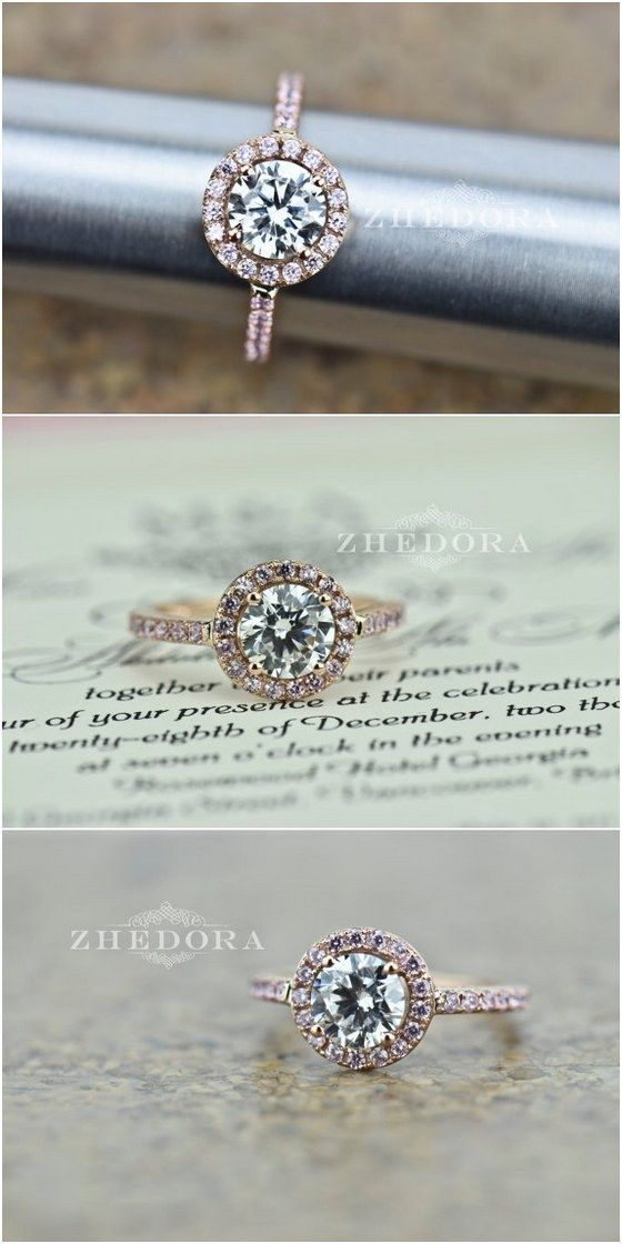 2.50 CT Engagement Ring Round Cut Halo Solid 14k or 18k Rose Gold Bridal Bridal / http://www.himisspuff.com/engagement-rings-wedding-rings/39/