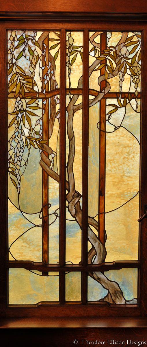 leaded glass wisteria window - by Theodore Ellison Designs
